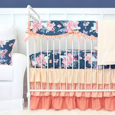Crib Bedding Sets by Charleigh U0027s Coral U0026 Navy Floral Bumperless Crib Bedding Baby