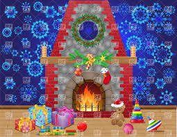 fireplace room with christmas gifts and decorations vector clipart