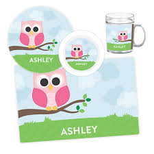 personalized plate owl plate bowl mug or placemat personalized owl dinnerware set