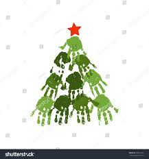 handprint christmas tree red handdrawn star stock vector 336815372