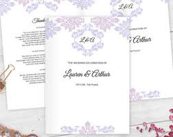 folded wedding program template diy wedding template etsy