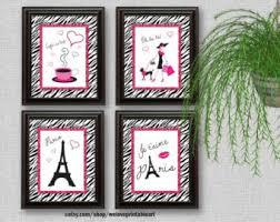 Zebra Print Room Decor Paris Bedroom Decor Etsy