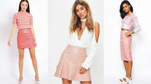 chic pink leather skirt river island youtube