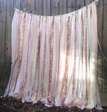 rose quartz garland rose gold wedding backdrop long blush rag curtain shower nursery cakesmash photobooth sequin backdrop ceremony