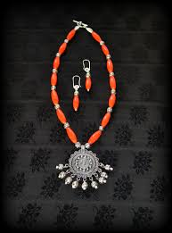 silver pendant necklace set images Tbzss036 22 inch long elegant necklace set in oval dark orange jpg