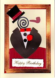 handmade greeting card happy birthday tuxedo man