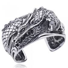 titanium bracelet cuff images Men 39 s titanium antique large fierce dragon cuff bracelet zivpin jpg