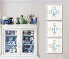French Country Wall Art - peach french blue flower wall art set rustic cottage wall