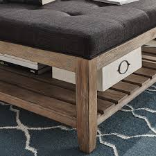 Ottoman With Table Lennon Pine Planked Storage Ottoman Coffee Table By Inspire Q
