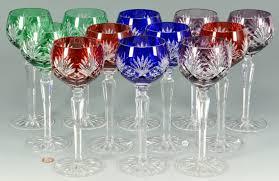Wine Goblets Lot 879 12 Colored Crystal Wine Goblets