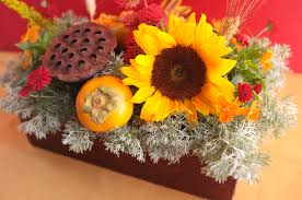 Fall Floral Decorations - boxed floral centerpiece for fall evite