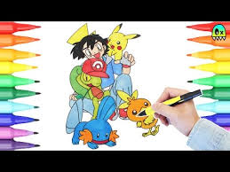 pokemon coloring pages ash and pikachu i coloring book fun youtube