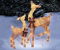 set of 2 golden chagne deer doe fawn display