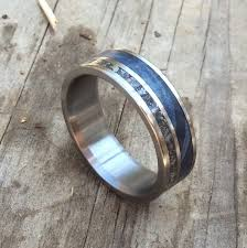 blue titanium wedding band titanium ring meteorite ring wood ring blue wood ring mens