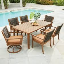 Swivel Wicker Patio Chairs by Hampton Bay Pin Oak 7 Piece Wicker Outdoor Dining Set With Oatmeal