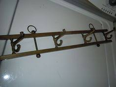 vintage brass coat rack with brass hooks knobs wall hanging wall