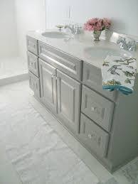 diy custom gray painted bathroom vanity from a builder grade