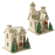 raz snowy putz house ornaments set of 2 shelley b home