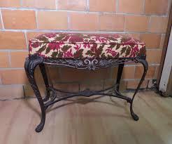 Vanity Bench Seat Ornate Antique Victorian Velvet Floral Cast Iron Piano Organ