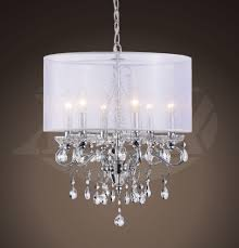 All Crystal Chandelier Sophia Crystal Chandelier With White Fabric Shade 17