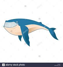 vector image of a cartoon blue whale stock photo royalty free