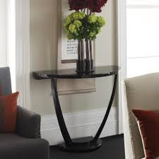 Half Moon Side Table Simple Stylish Half Moon Side Table Showing Gloss Black Tones With
