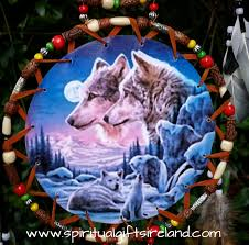 wolf dreamcatcher large 3 ring lone wolf
