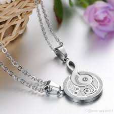 couples necklace images Wholesale love you stainless steel couples necklace crystal drill jpg