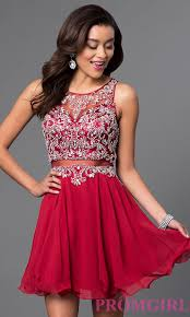 short mock two piece homecoming dress promgirl