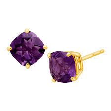 amethyst stud earrings 1 1 5 ct cushion cut amethyst stud earrings in 14k gold