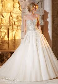 mori bridal wedding dress 2791 and diamante beading decorates the