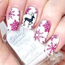 snowflakes pink christmas nail art acrylic nail designs