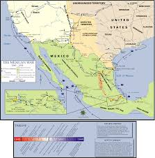 Map Mexico States by Map Of The Mexican American War With Routes Of Both Taylor And