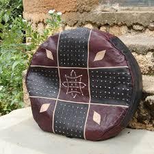 Ottoman Zoo Leather Pouf Ottoman Afrimod