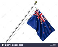 Flag New Zealand Isolated New Flag Pole Zealand Oceania Isolated Colour Flag New