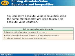 holt algebra solving absolute value equations and inequalities