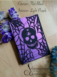 skull in spider web halloween party invitation spooky laser cut