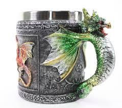 green royal dragon mug serpent handle medieval collectible stein