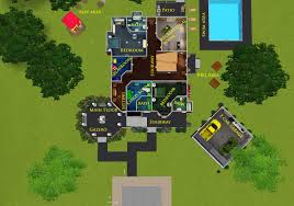 mod the sims modern two story home with attached gazebo
