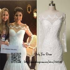 Civil Wedding Dress Online Shop Sheer Long Sleeve Civil Wedding Dress Lace Real Photo