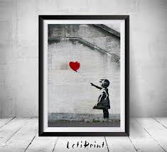 banksy print red balloon print banksy graffiti art