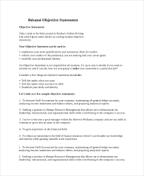 Sample Objective Of Resume by Sample Resume Objective Statement 7 Documents In Pdf Word