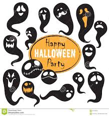 happy halloween vector set of vintage happy halloween flat ghosts halloween scrapbook