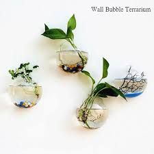 set of 4 empty glass wall terrariums indoor wall vase glass