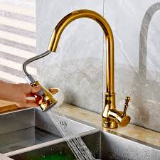 Tap Kitchen Faucet Aliexpress Com Buy New Fashion Deck Mount Golden Brass Pull Out