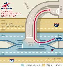 Dallas Love Field Map by Lbj Texpress Lanes Exit Ramp Maps Lbj Texpress Lanes
