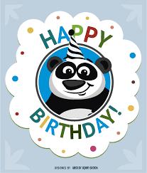 birthday cartoon panda card vector download