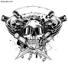 impressive army skull and guns stencil photos and ideas