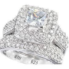 unique wedding ring sets cushion cut cz halo design 2 genuine 925 sterling silver