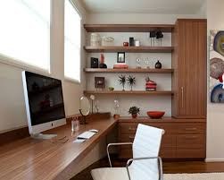 Small Office Decorating Ideas Modern T Shaped Cream Solid Wood Desk Combined With Red Armless